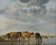 Cattle in a River painting reproduction, Aelbert Cuyp