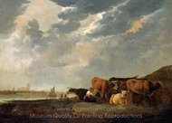 Cattle Near the Maas, with Dordrecht in the Distance painting reproduction, Aelbert Cuyp