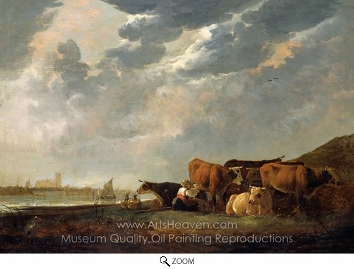 Aelbert Cuyp, Cattle Near the Maas, with Dordrecht in the Distance oil painting reproduction