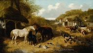 Cattle, Pigs, Ducks, Chickens and Horses in a Farmyard painting reproduction, John Frederick Herring Sr.