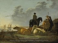 Cattle with Horseman and Peasants painting reproduction, Aelbert Cuyp