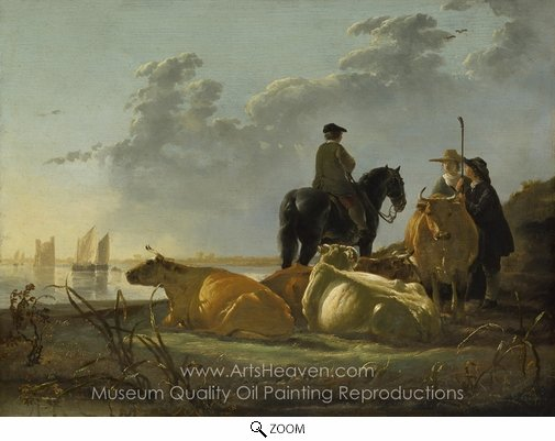 Aelbert Cuyp, Cattle with Horseman and Peasants oil painting reproduction