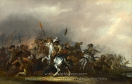 Cavalry Attacked by Infantry painting reproduction, Jacob Weier