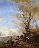 Cavalrymen Halted at a Sutler's Booth painting reproduction, Philips Wouwerman