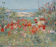 Celia Thaxter's Garden, Isles of Shoals, Maine painting reproduction, Childe Hassam
