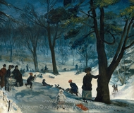 Central Park, Winter painting reproduction, William James Glackens