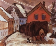 Chaff Waggons painting reproduction, Gabriele Munter
