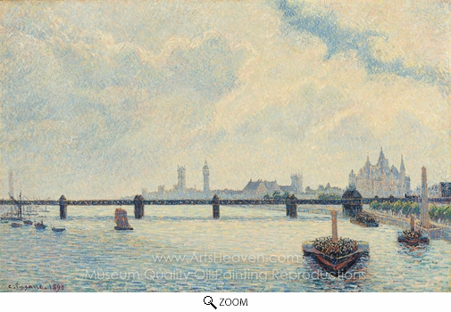 Camille Pissarro, Charing Cross Bridge, London oil painting reproduction