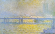 Charing Cross Bridge, Overcast Weather painting reproduction, Claude Monet