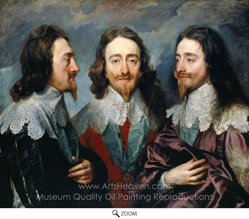 Sir Anthony Van Dyck, Charles I in Three Positions oil painting reproduction