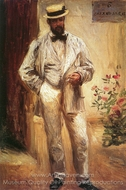 Charles Le Coeur in His Garden painting reproduction, Pierre-Auguste Renoir