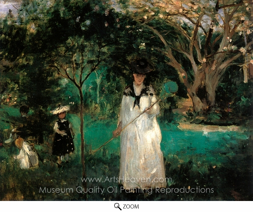 Berthe Morisot, Chasing Butterflies oil painting reproduction