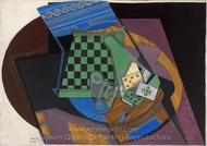Checkerboard and Playing Cards painting reproduction, Juan Gris