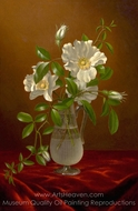 Cherokee Roses in a Glass Vase painting reproduction, Martin Johnson Heade