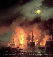 Chesmenskiy Battle painting reproduction, Ivan Aivazovskiy