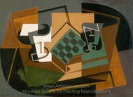 Chessboard, Glass, and Dish painting reproduction, Juan Gris
