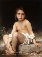 Child at Bath painting reproduction, William A. Bouguereau