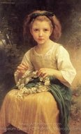 Child Braiding a Crown (Enfant tressant une couronne) painting reproduction, William A. Bouguereau