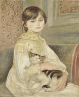 Child with Cat (Julie Manet) painting reproduction, Pierre-Auguste Renoir