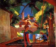 Children at the Pump painting reproduction, August Macke