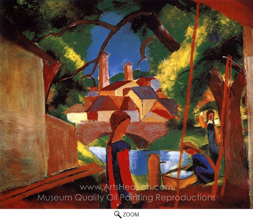 August Macke, Children at the Pump oil painting reproduction