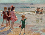Children at the Shore painting reproduction, Edward Henry Potthast