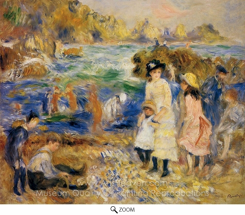 Pierre-Auguste Renoir, Children by the Sea in Guernsey oil painting reproduction