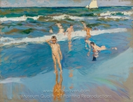 Children in the Sea, Valencia Beach painting reproduction, Joaquin Sorolla