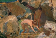 Children Looking for Shellfish painting reproduction, Joaquin Sorolla