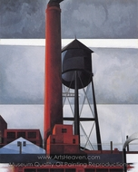 Chimney and Water Tower painting reproduction, Charles Demuth