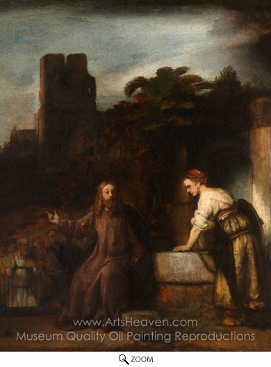 Rembrandt Van Rijn, Christ and the Woman of Samaria oil painting reproduction