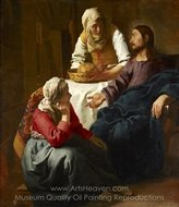 Christ in the House of Mary and Martha painting reproduction, Jan Vermeer