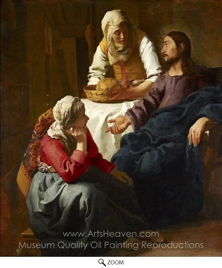 Jan Vermeer, Christ in the House of Mary and Martha oil painting reproduction