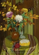 Chrysanthemes et feuillage d'automne painting reproduction, Felix Vallotton