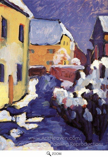 Wassily Kandinsky, Church Yard and Vicarage in Kochel oil painting reproduction