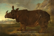 Clara the Rhinoceros in Paris in 1749 painting reproduction, Jean-Baptiste Oudry
