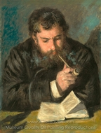 Claude Monet (The Reader) painting reproduction, Pierre-Auguste Renoir