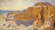 Cliffs at Deir el Bahri, Egypt painting reproduction, John Singer Sargent