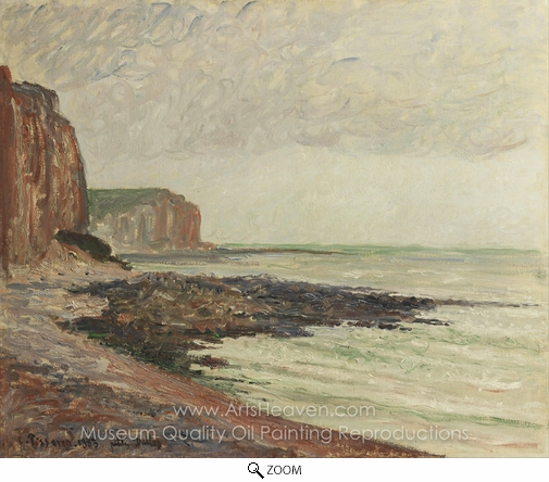Camille Pissarro, Cliffs at Petites-Dalles oil painting reproduction