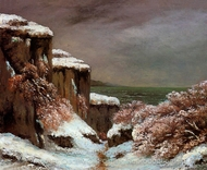 Cliffs by the Sea in the Snow painting reproduction, Gustave Courbet