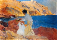 Clotilde and Elena on the Rocks painting reproduction, Joaquin Sorolla