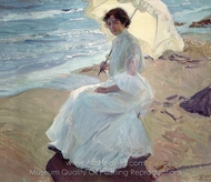 Clotilde on the Beach painting reproduction, Joaquin Sorolla