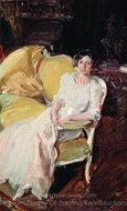 Clotilde Seated on the Sofa painting reproduction, Joaquin Sorolla