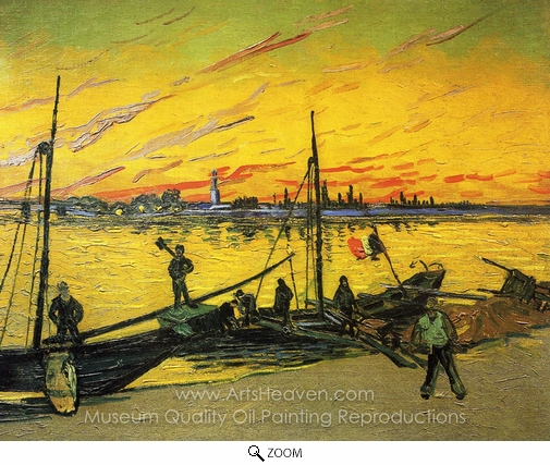 Vincent Van Gogh, Coal Barges oil painting reproduction
