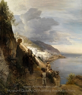 Coast of Amalfi painting reproduction, Oswald Achenbach