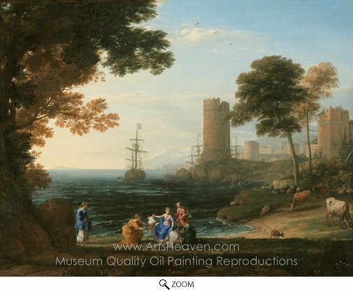 Claude Lorraine, Coast View with the Abduction of Europa oil painting reproduction
