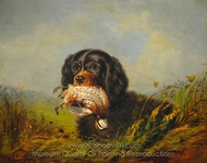Cocker Spaniel and Ruffled Grouse painting reproduction, Arthur Fitzwilliam Tait