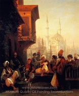 Coffee-house by the Ortakoy Mosque in Constantinople painting reproduction, Ivan Aivazovskiy