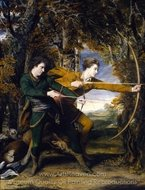 Colonel Acland and Lord Sydney: The Archers painting reproduction, Sir Joshua Reynolds