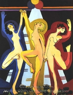 Colourful Dance painting reproduction, Ernst Ludwig Kirchner